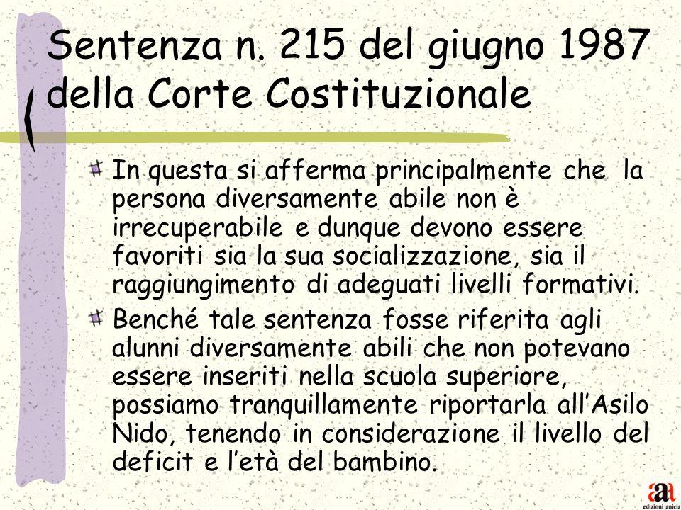 Sentenza n. 215 del giugno 1987 della Corte Costituzionale
