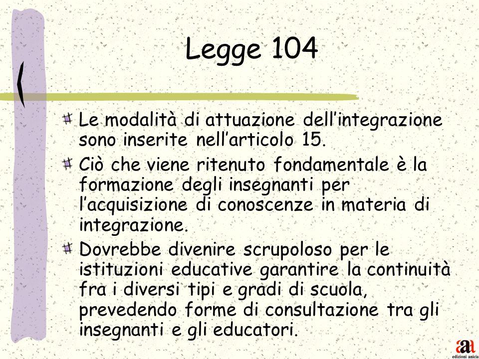 Legge 104 Le modalità di attuazione dell'integrazione sono inserite nell'articolo 15.