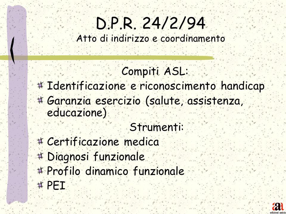 D.P.R. 24/2/94 Atto di indirizzo e coordinamento
