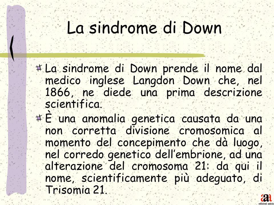 La sindrome di Down La sindrome di Down prende il nome dal medico inglese Langdon Down che, nel 1866, ne diede una prima descrizione scientifica.