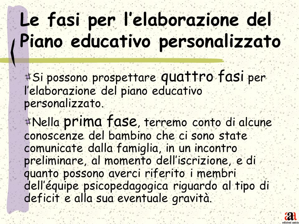 Le fasi per l'elaborazione del Piano educativo personalizzato
