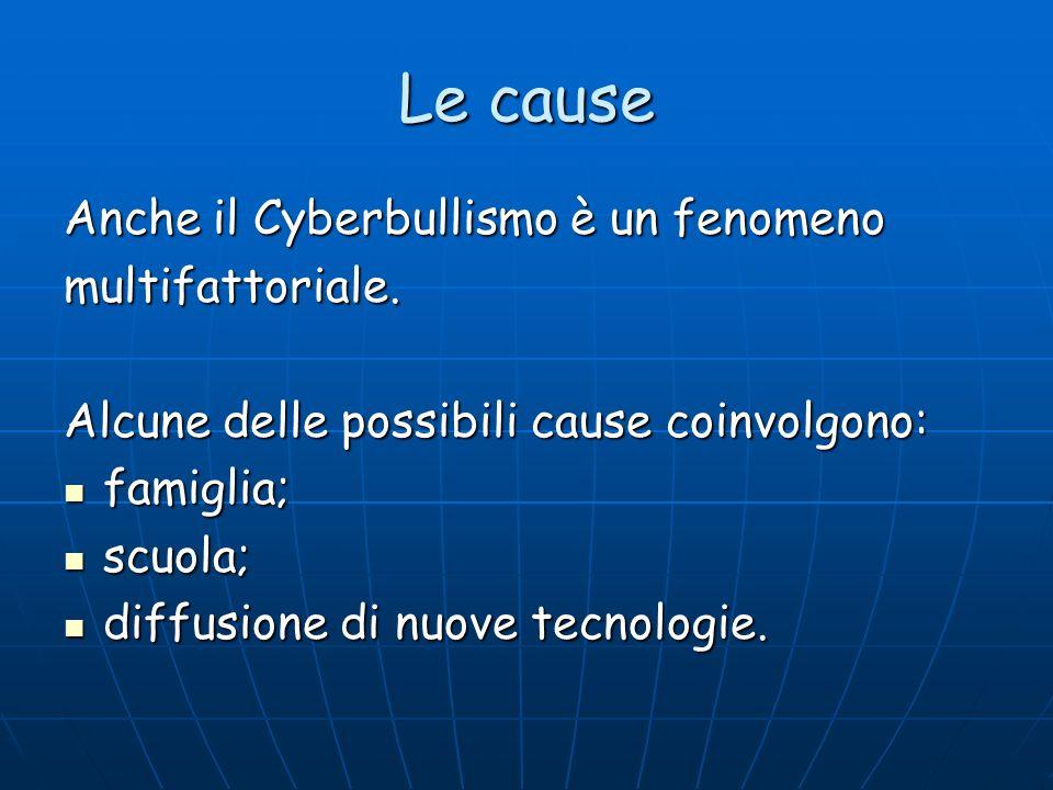 Le cause Anche il Cyberbullismo è un fenomeno multifattoriale.