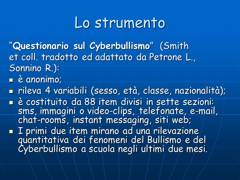 Lo strumento Questionario sul Cyberbullismo (Smith