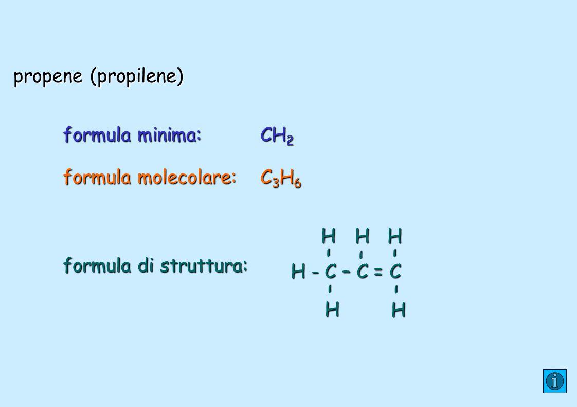 propene (propilene) formula minima: CH2. formula molecolare: C3H6. formula di struttura: H - C – C = C.