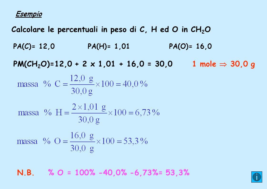 Calcolare le percentuali in peso di C, H ed O in CH2O