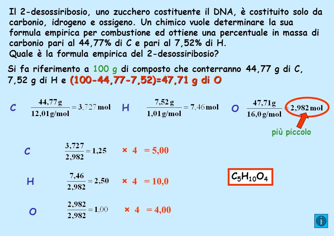 Il 2-desossiribosio, uno zucchero costituente il DNA, è costituito solo da carbonio, idrogeno e ossigeno. Un chimico vuole determinare la sua formula empirica per combustione ed ottiene una percentuale in massa di carbonio pari al 44,77% di C e pari al 7,52% di H.
