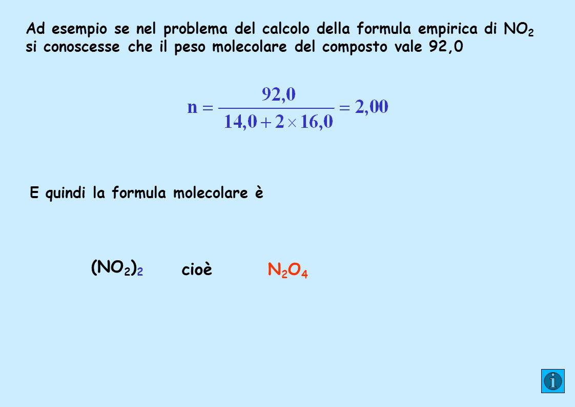 E quindi la formula molecolare è