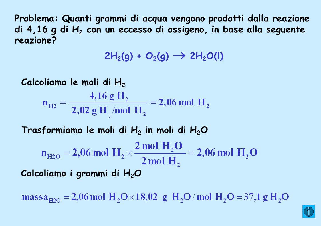 Trasformiamo le moli di H2 in moli di H2O Calcoliamo i grammi di H2O