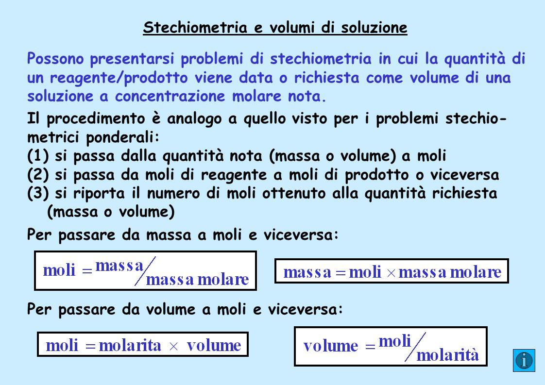 Stechiometria e volumi di soluzione