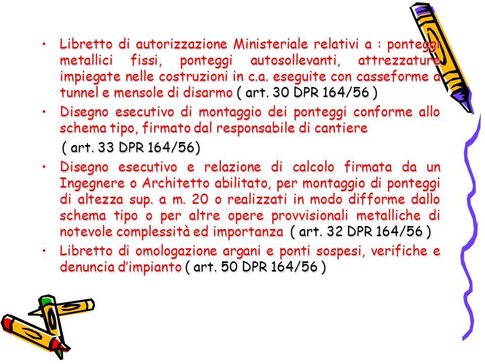 Libretto di autorizzazione Ministeriale relativi a : ponteggi metallici fissi, ponteggi autosollevanti, attrezzature impiegate nelle costruzioni in c.a. eseguite con casseforme a tunnel e mensole di disarmo ( art. 30 DPR 164/56 )