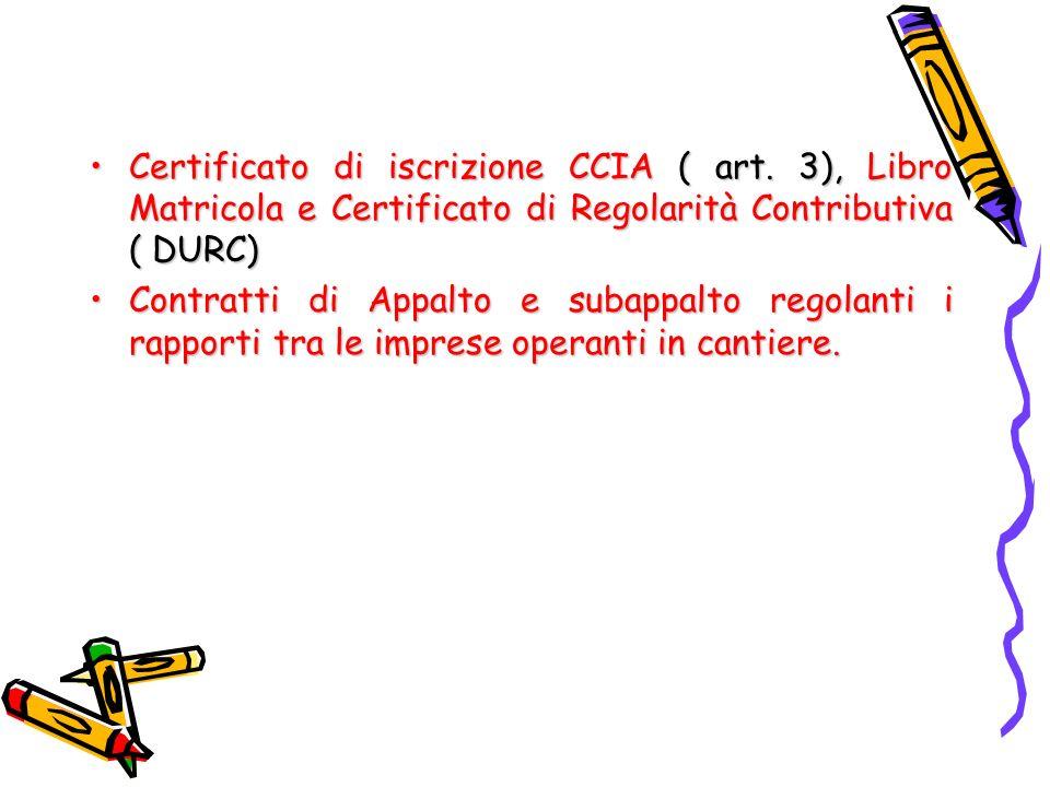 Certificato di iscrizione CCIA ( art