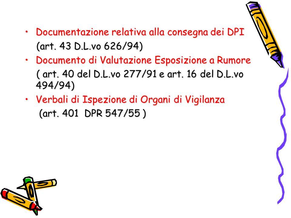 Documentazione relativa alla consegna dei DPI