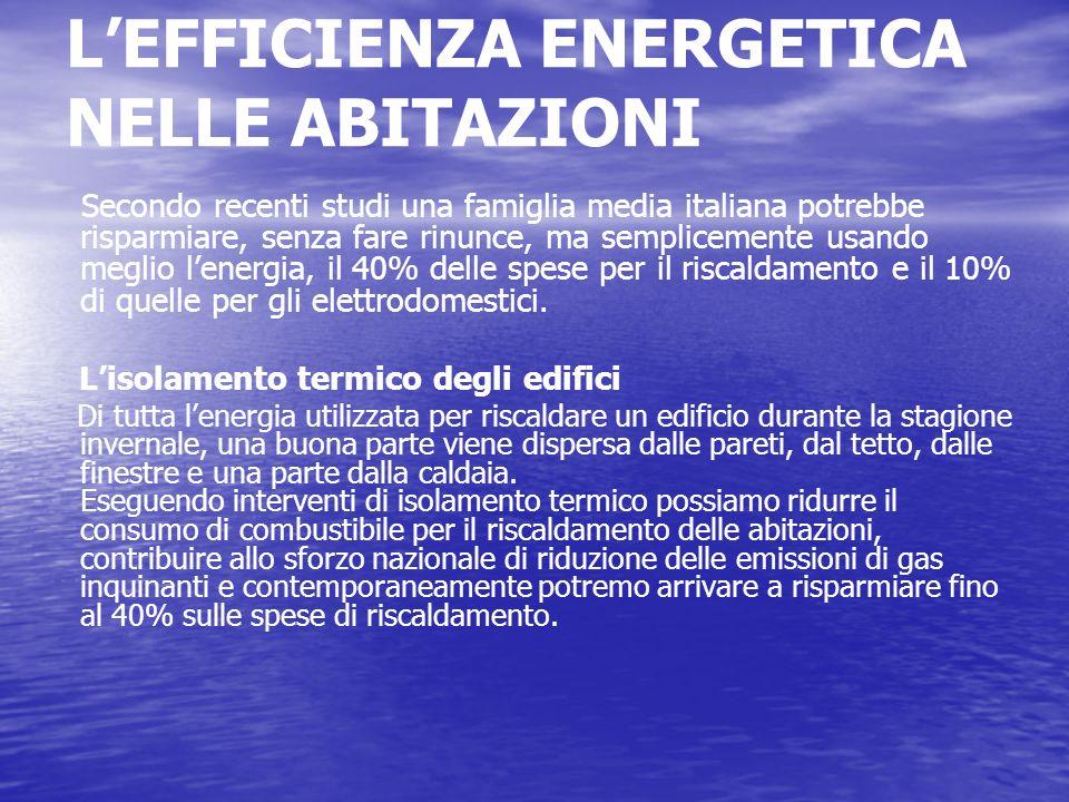 L'EFFICIENZA ENERGETICA NELLE ABITAZIONI