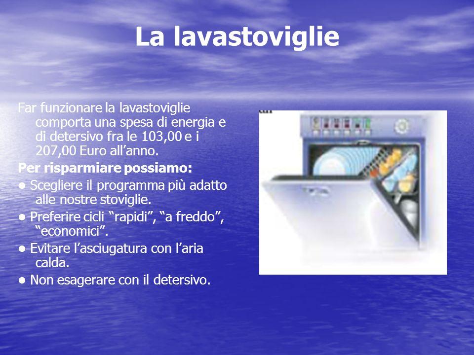 La lavastoviglie Far funzionare la lavastoviglie comporta una spesa di energia e di detersivo fra le 103,00 e i 207,00 Euro all'anno.