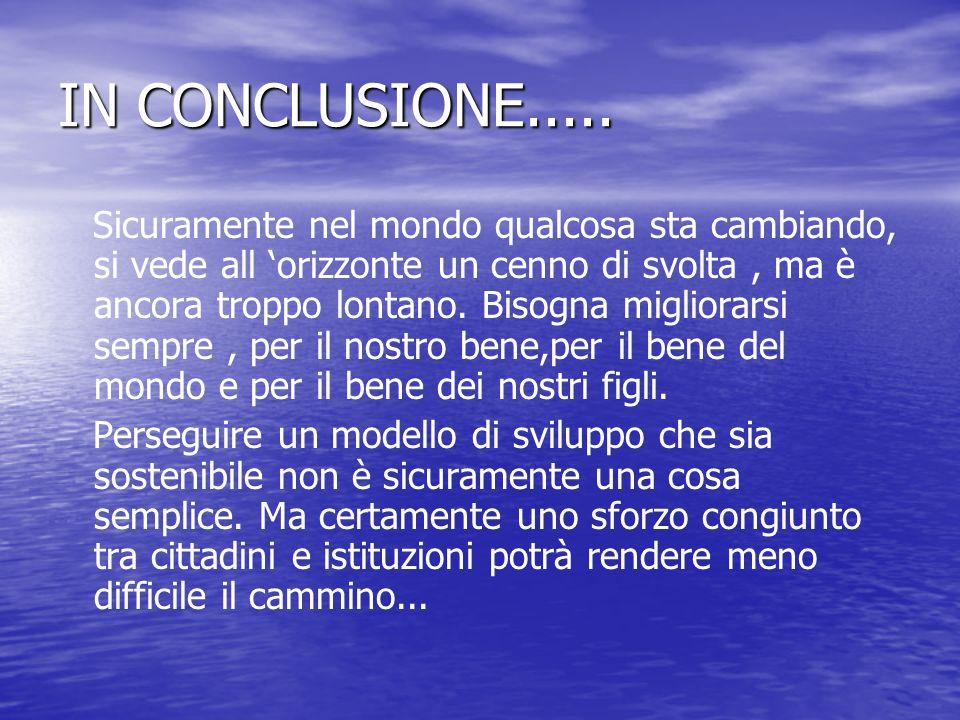 IN CONCLUSIONE.....