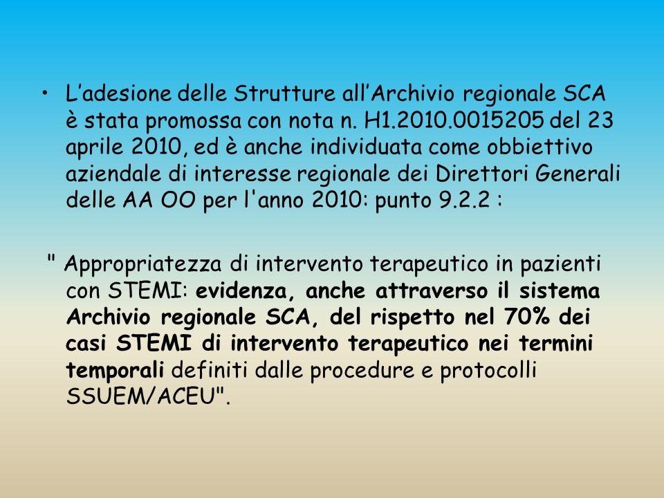 L'adesione delle Strutture all'Archivio regionale SCA è stata promossa con nota n. H1.2010.0015205 del 23 aprile 2010, ed è anche individuata come obbiettivo aziendale di interesse regionale dei Direttori Generali delle AA OO per l anno 2010: punto 9.2.2 :