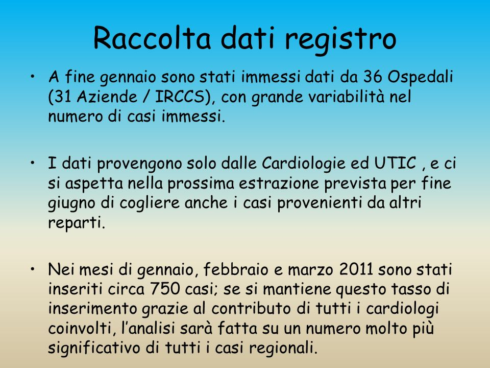 Raccolta dati registro