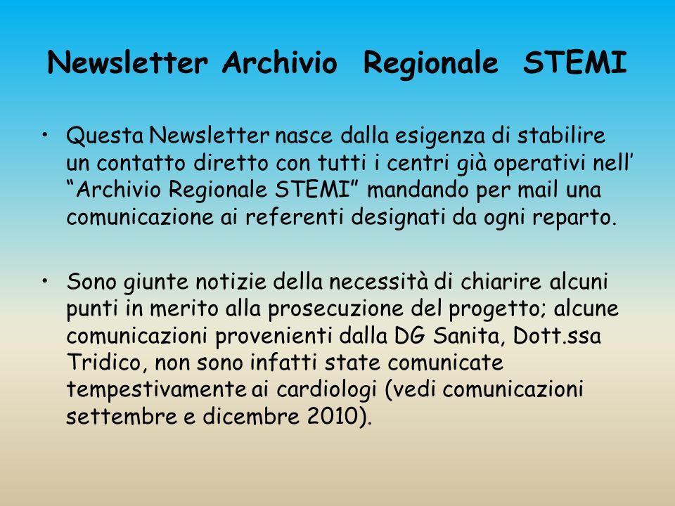 Newsletter Archivio Regionale STEMI