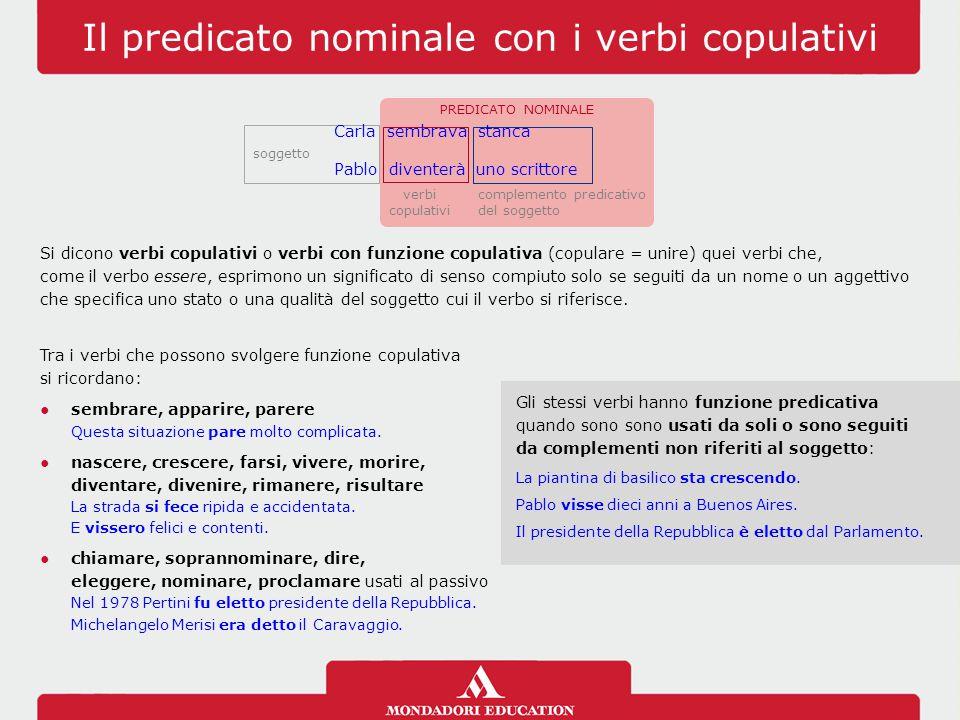Il predicato nominale con i verbi copulativi