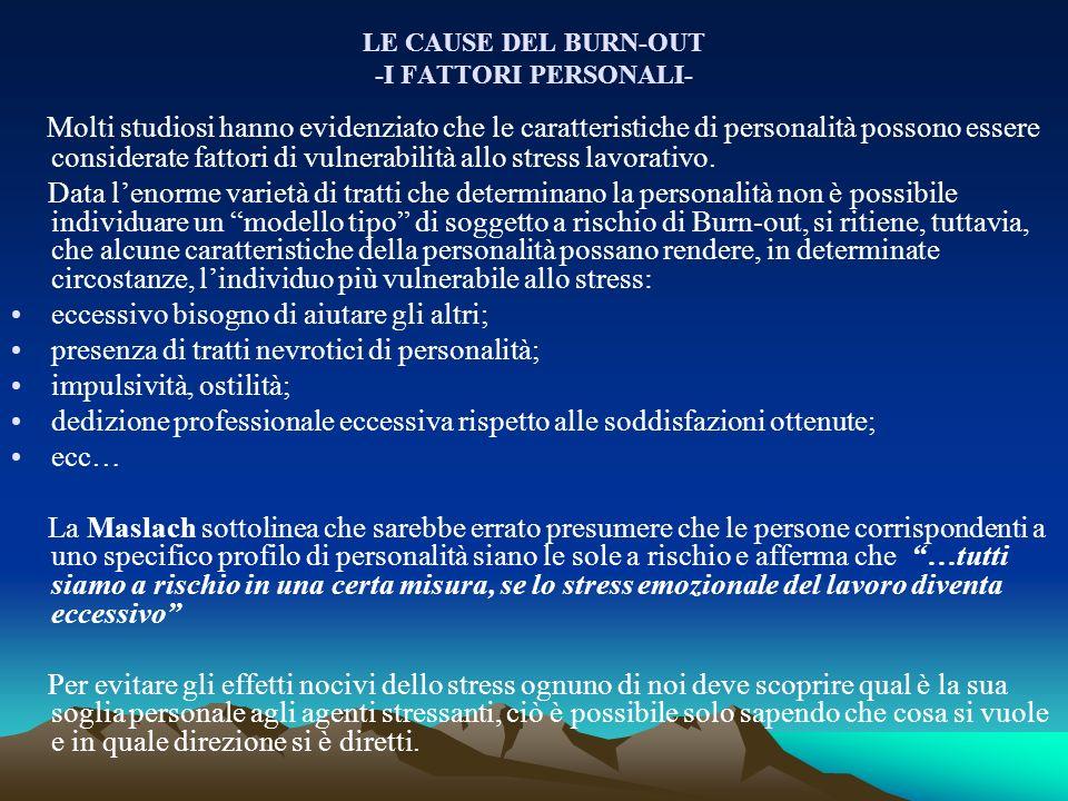 LE CAUSE DEL BURN-OUT -I FATTORI PERSONALI-