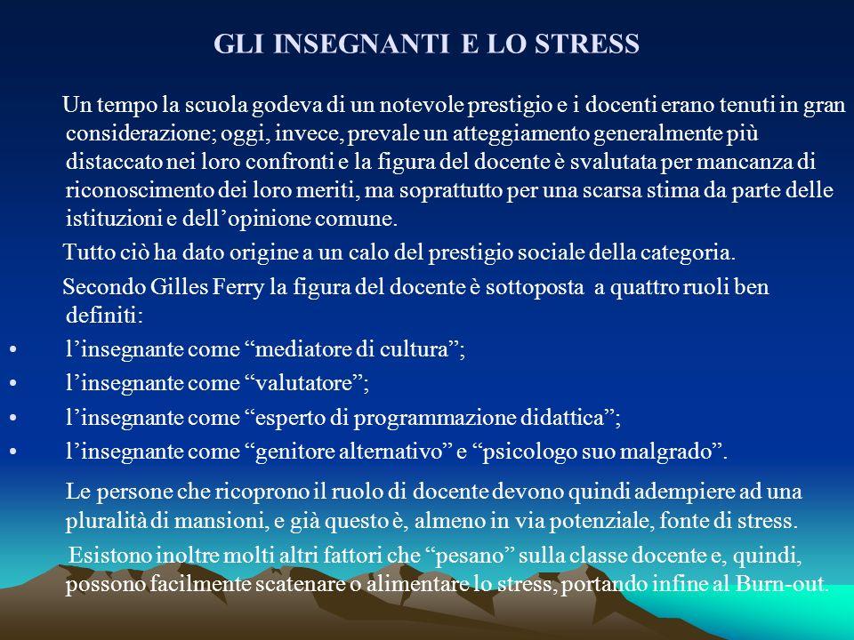 GLI INSEGNANTI E LO STRESS