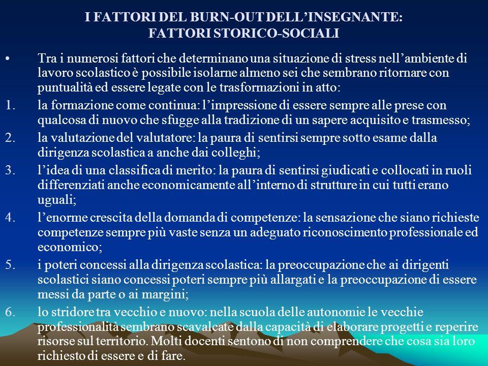 I FATTORI DEL BURN-OUT DELL'INSEGNANTE: FATTORI STORICO-SOCIALI