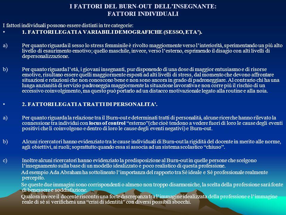 I FATTORI DEL BURN-OUT DELL'INSEGNANTE: FATTORI INDIVIDUALI