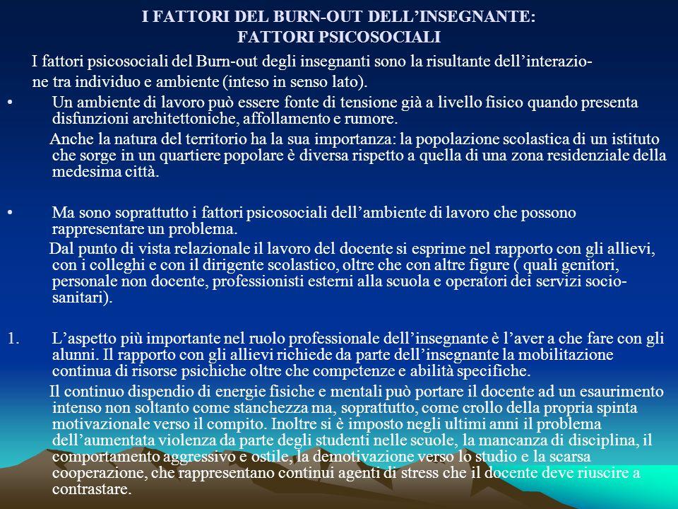 I FATTORI DEL BURN-OUT DELL'INSEGNANTE: FATTORI PSICOSOCIALI