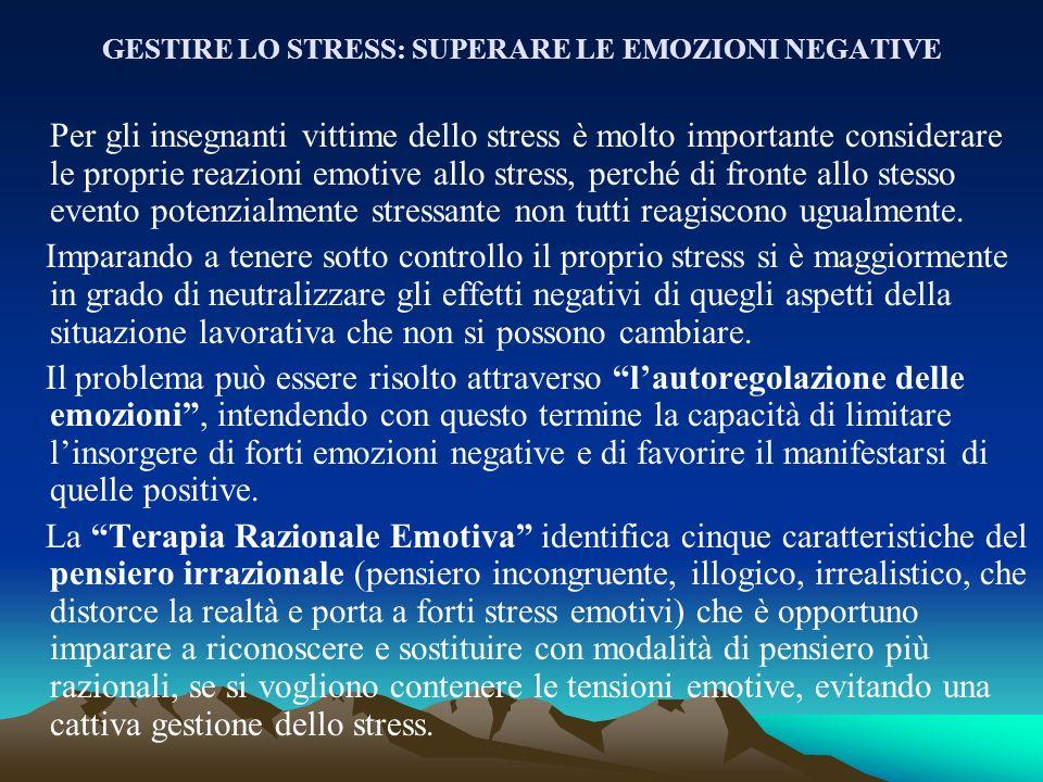 GESTIRE LO STRESS: SUPERARE LE EMOZIONI NEGATIVE