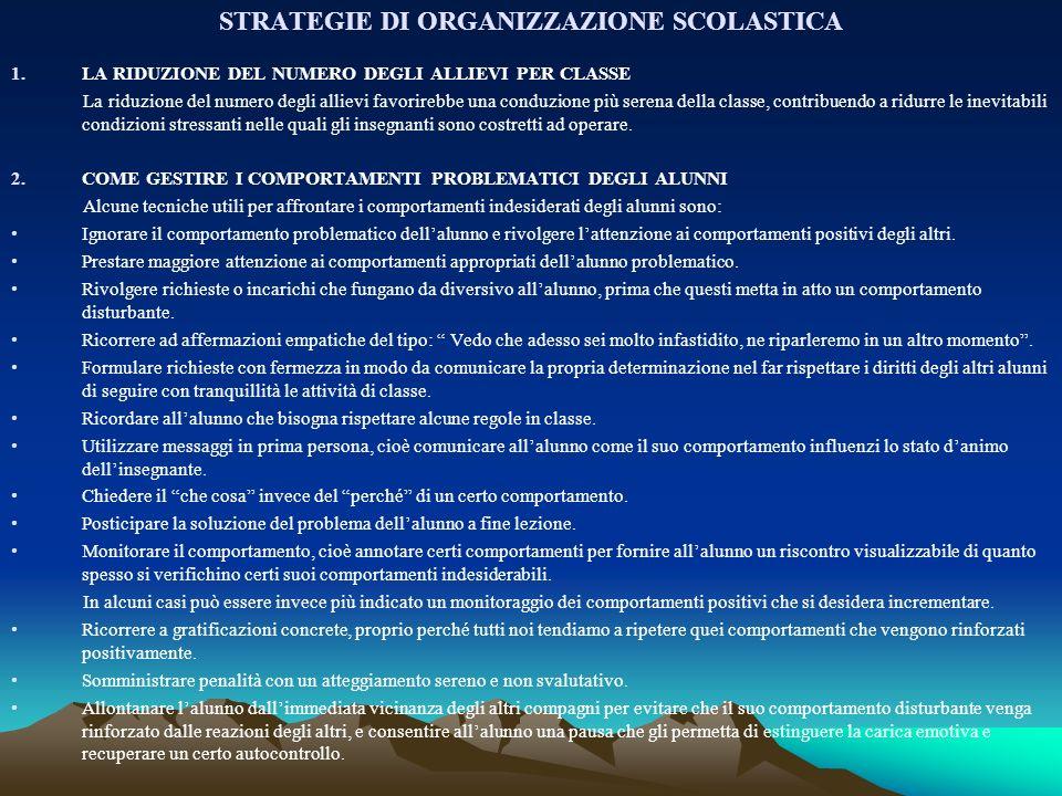 STRATEGIE DI ORGANIZZAZIONE SCOLASTICA