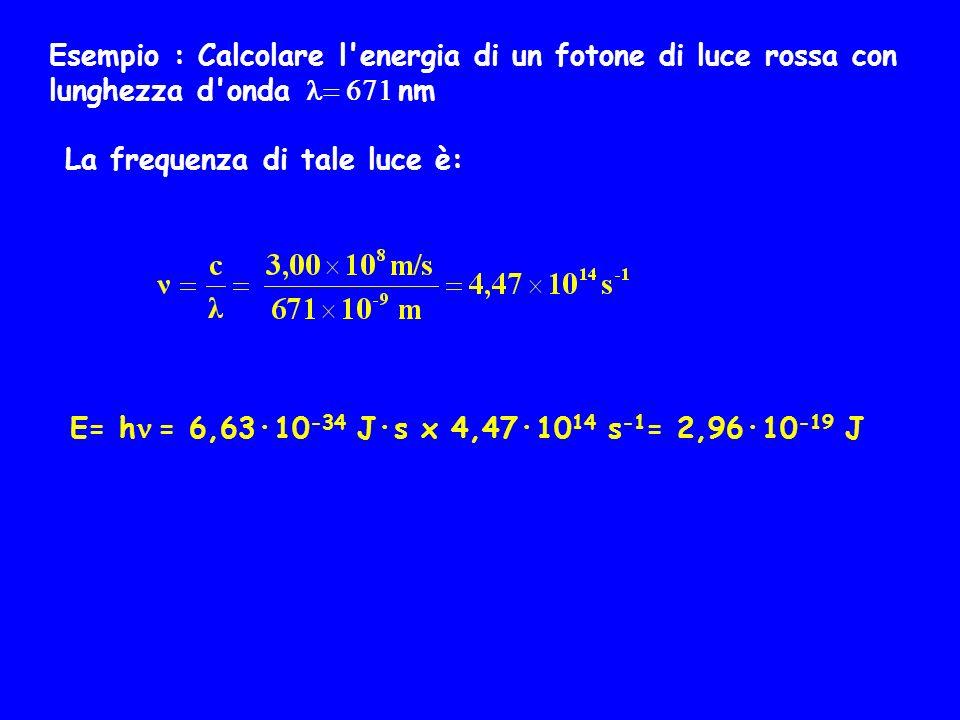 Esempio : Calcolare l energia di un fotone di luce rossa con lunghezza d onda = 671 nm