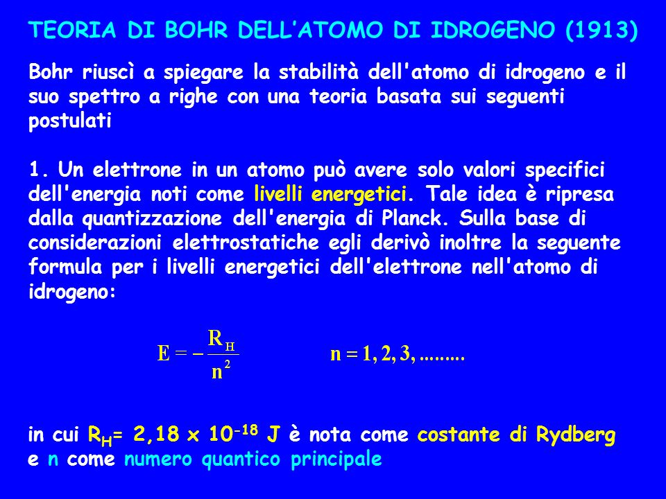 TEORIA DI BOHR DELL'ATOMO DI IDROGENO (1913)