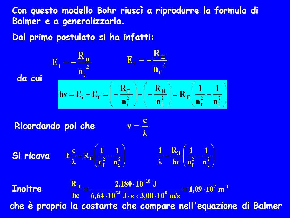 Con questo modello Bohr riuscì a riprodurre la formula di Balmer e a generalizzarla.