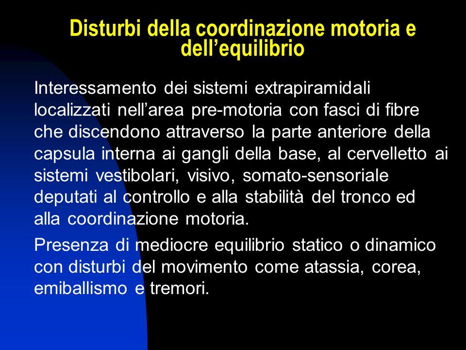 Disturbi della coordinazione motoria e dell'equilibrio