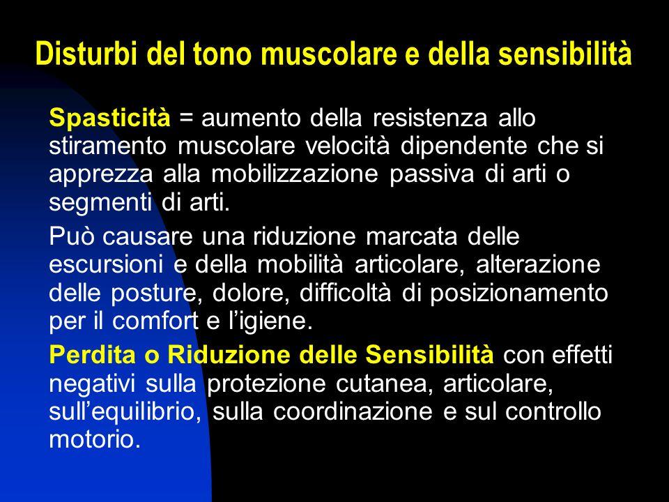 Disturbi del tono muscolare e della sensibilità
