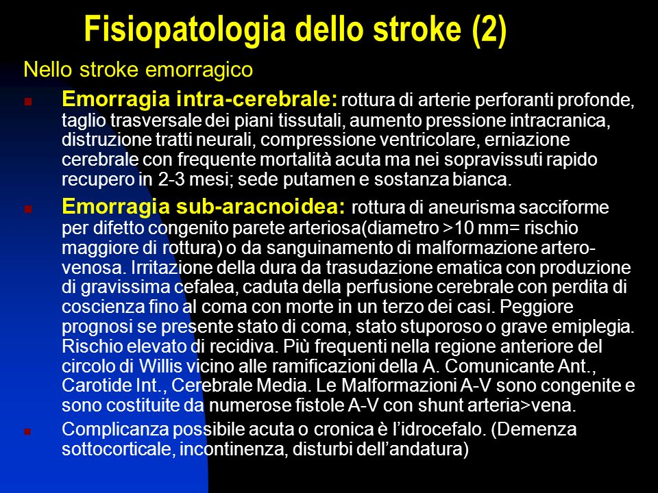 Fisiopatologia dello stroke (2)