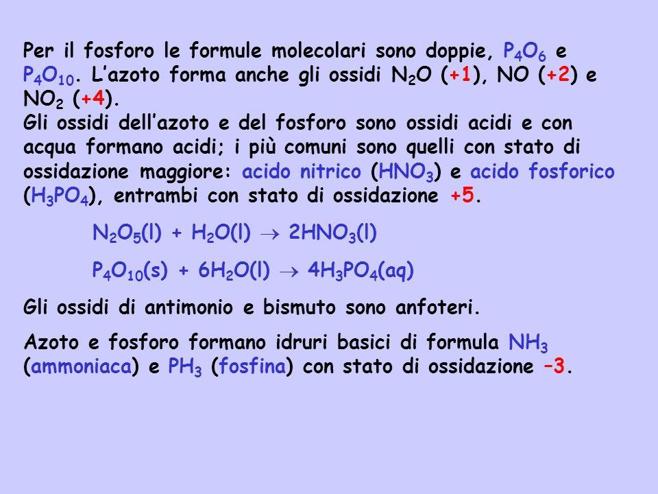 Per il fosforo le formule molecolari sono doppie, P4O6 e P4O10