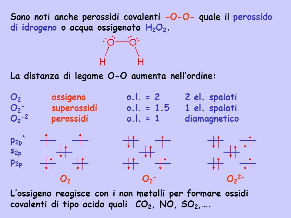 Sono noti anche perossidi covalenti -O-O- quale il perossido di idrogeno o acqua ossigenata H2O2.