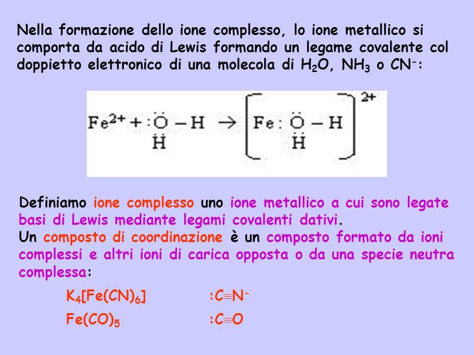 Nella formazione dello ione complesso, lo ione metallico si comporta da acido di Lewis formando un legame covalente col doppietto elettronico di una molecola di H2O, NH3 o CN-:
