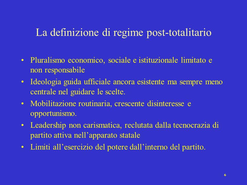 La definizione di regime post-totalitario