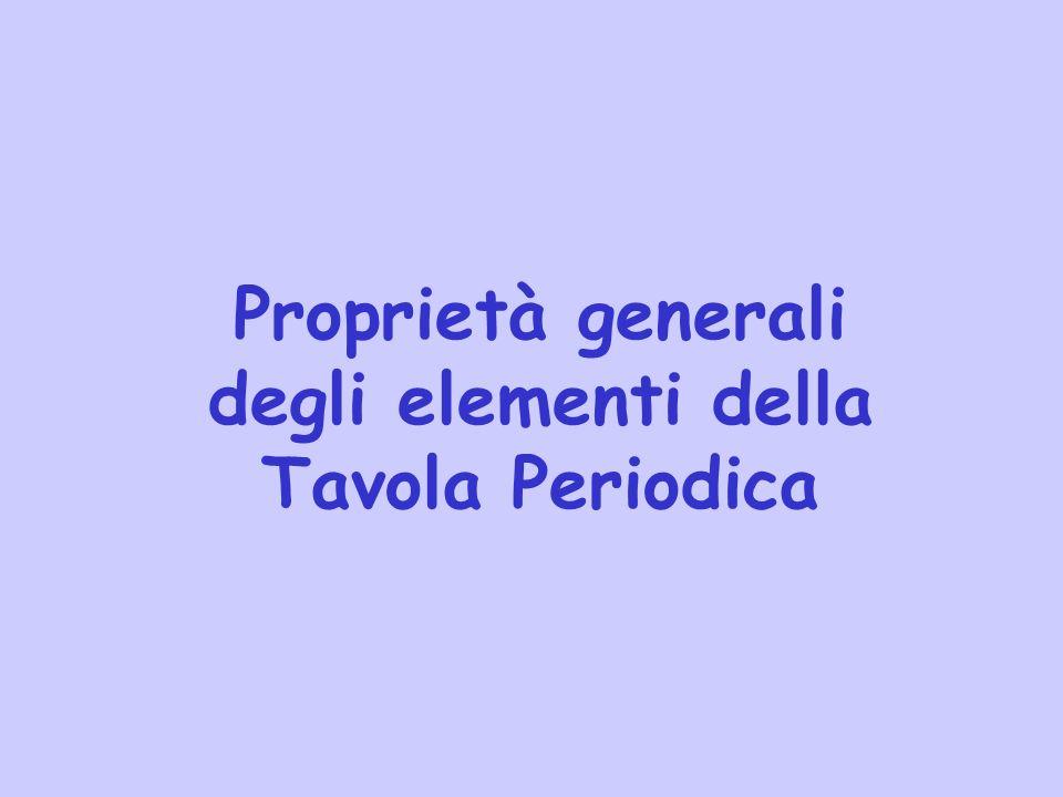 Proprietà generali degli elementi della Tavola Periodica