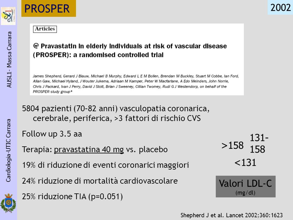 PROSPER 2002 131- 158 >158 <131 Valori LDL-C