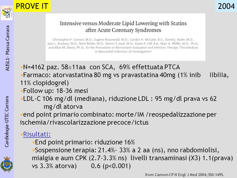 PROVE IT 2004 N=4162 paz. 58±11aa con SCA, 69% effettuata PTCA