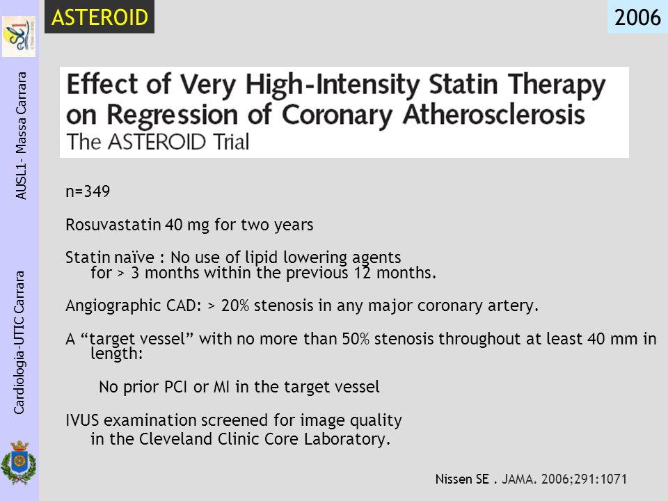 ASTEROID 2006 n=349 Rosuvastatin 40 mg for two years