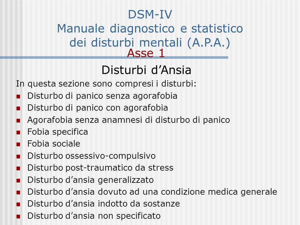DSM-IV Manuale diagnostico e statistico dei disturbi mentali (A.P.A.)