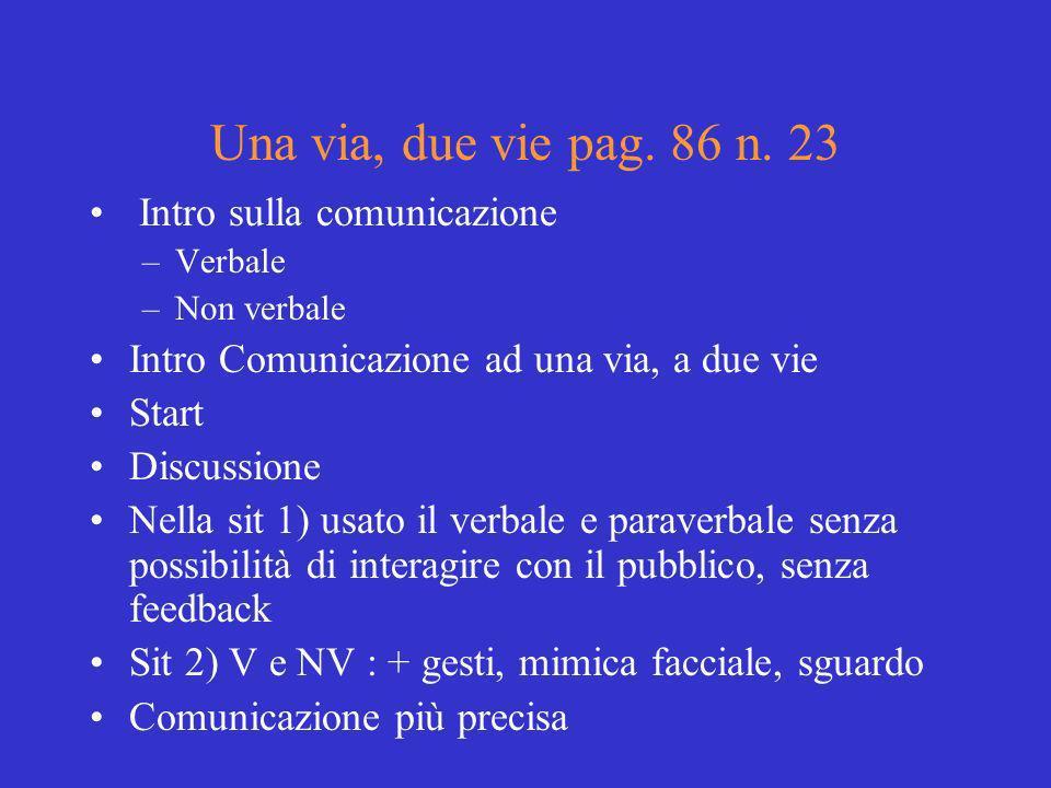 Una via, due vie pag. 86 n. 23 Intro sulla comunicazione