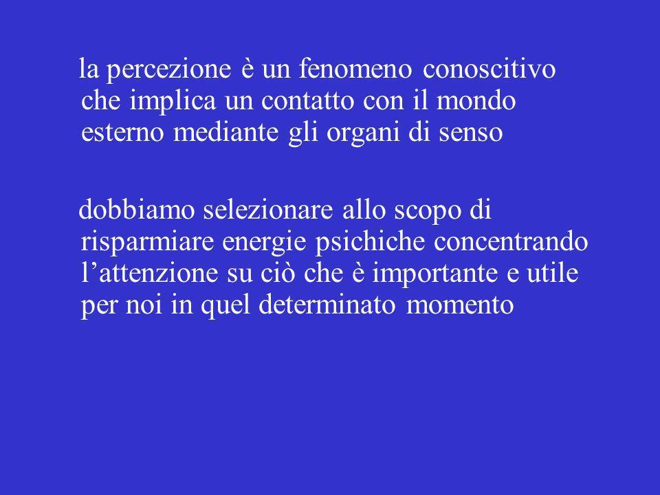 la percezione è un fenomeno conoscitivo che implica un contatto con il mondo esterno mediante gli organi di senso
