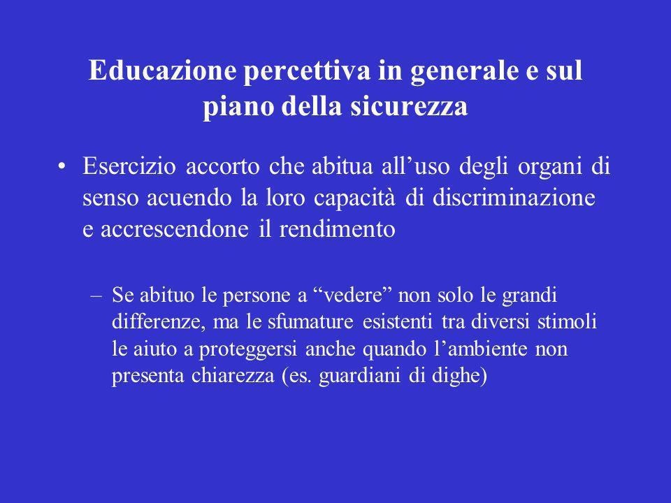 Educazione percettiva in generale e sul piano della sicurezza
