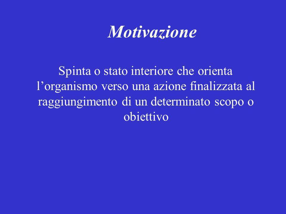 Motivazione Spinta o stato interiore che orienta l'organismo verso una azione finalizzata al raggiungimento di un determinato scopo o obiettivo.