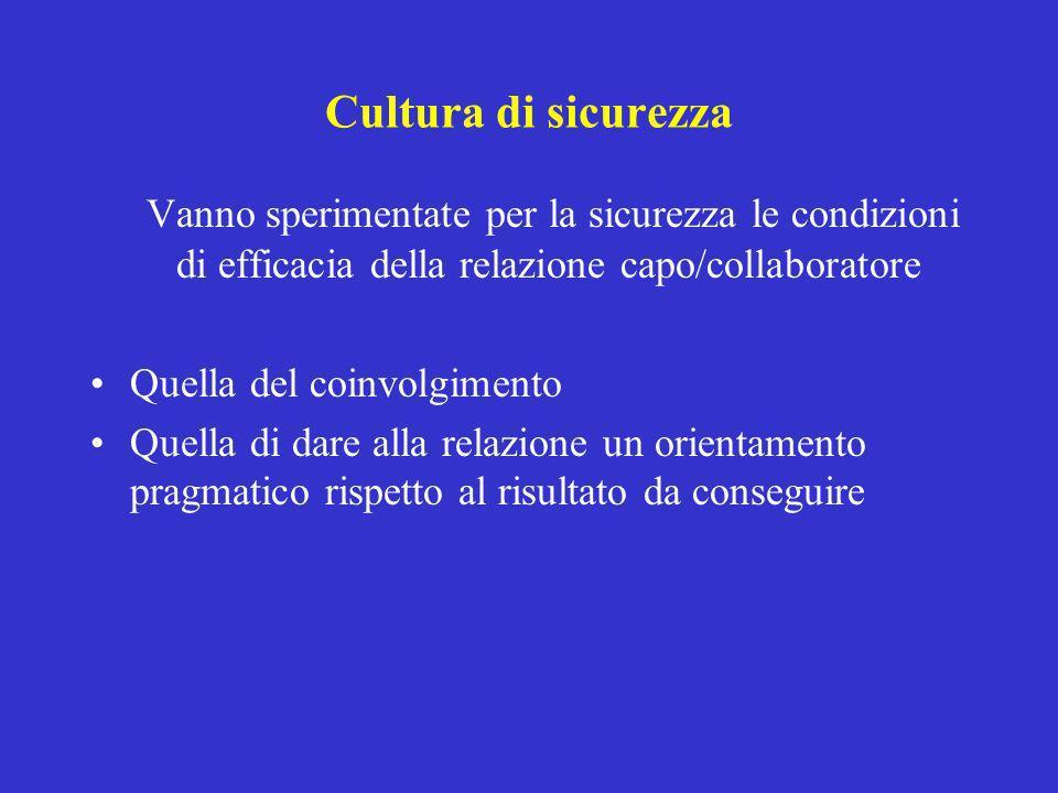 Cultura di sicurezza Vanno sperimentate per la sicurezza le condizioni di efficacia della relazione capo/collaboratore.